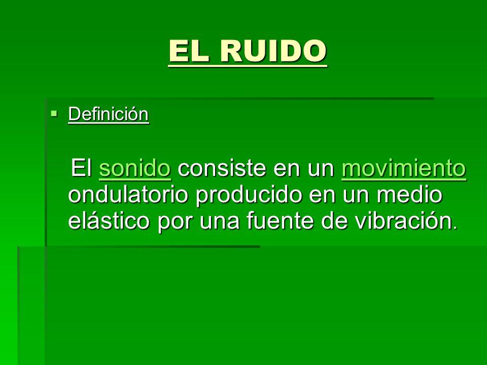 EL RUIDO EL RUIDO Definición Definición El sonido consiste en un movimiento ondulatorio producido en un medio elástico por una fuente de vibración. El
