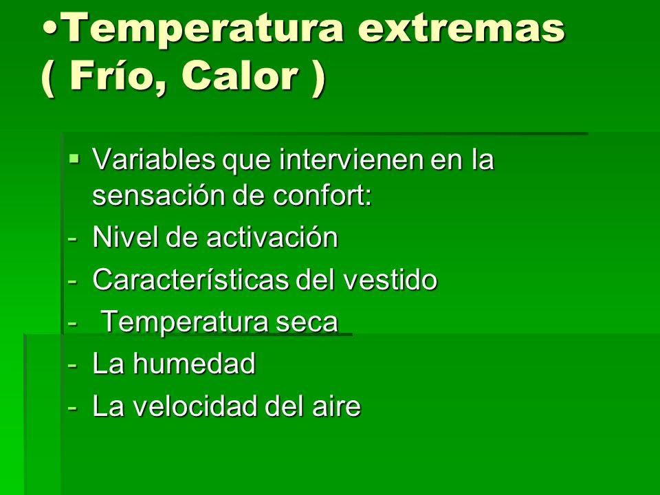 Temperatura extremas ( Frío, Calor )Temperatura extremas ( Frío, Calor ) Variables que intervienen en la sensación de confort: Variables que intervien