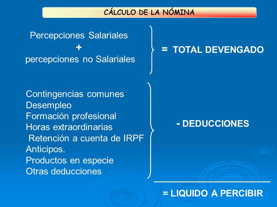 Percepciones Salariales + percepciones no Salariales Contingencias comunes Desempleo Formación profesional Horas extraordinarias Retención a cuenta de IRPF Anticipos.
