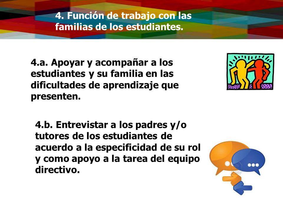 4. Función de trabajo con las familias de los estudiantes. 4.a. Apoyar y acompañar a los estudiantes y su familia en las dificultades de aprendizaje q