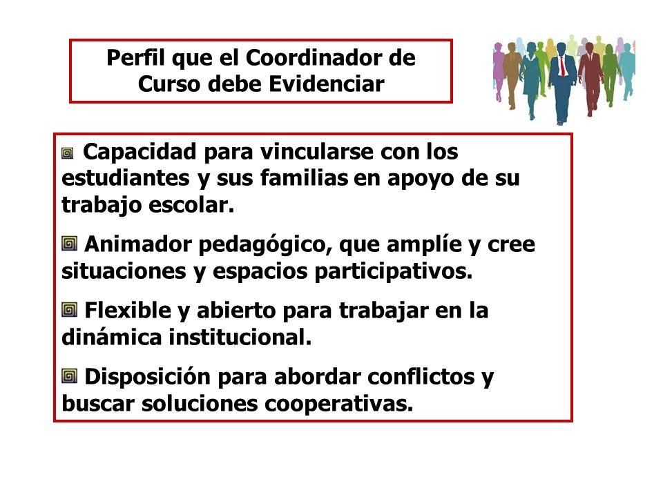 Perfil que el Coordinador de Curso debe Evidenciar Capacidad para vincularse con los estudiantes y sus familias en apoyo de su trabajo escolar. Animad
