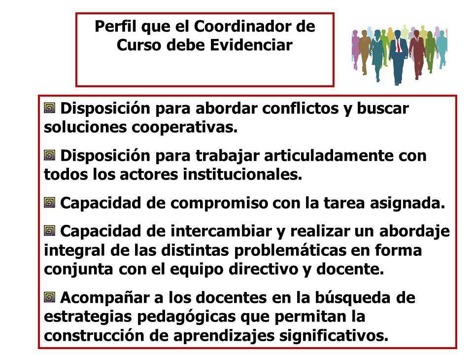 Perfil que el Coordinador de Curso debe Evidenciar Disposición para abordar conflictos y buscar soluciones cooperativas. Disposición para trabajar art