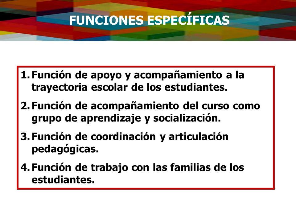 FUNCIONES ESPECÍFICAS 1.Función de apoyo y acompañamiento a la trayectoria escolar de los estudiantes. 2.Función de acompañamiento del curso como grup