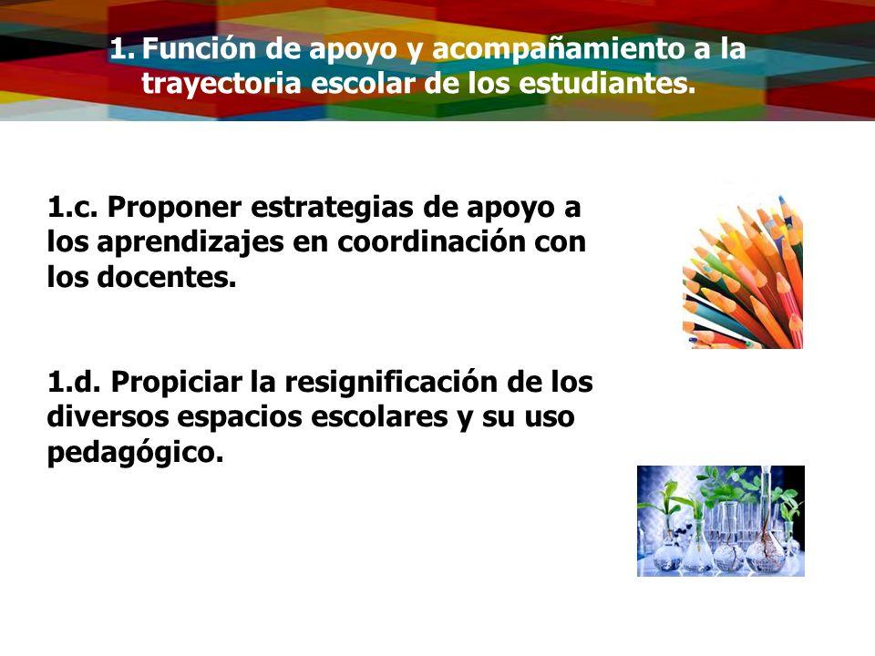 1.Función de apoyo y acompañamiento a la trayectoria escolar de los estudiantes. 1.c. Proponer estrategias de apoyo a los aprendizajes en coordinación