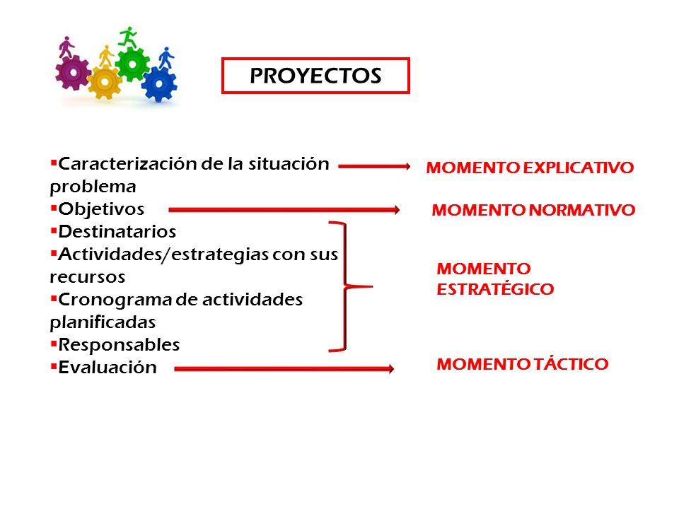 Caracterización de la situación problema Objetivos Destinatarios Actividades/estrategias con sus recursos Cronograma de actividades planificadas Respo