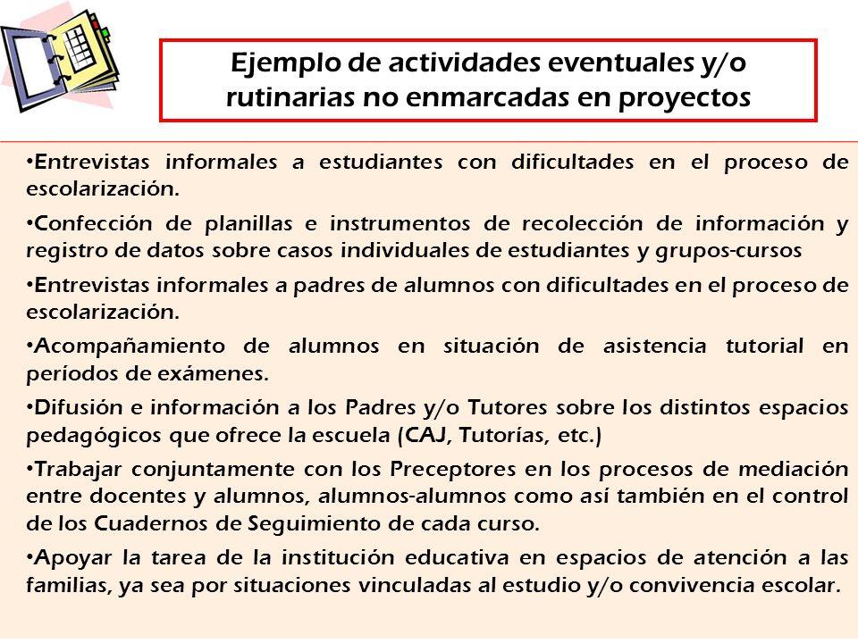 Ejemplo de actividades eventuales y/o rutinarias no enmarcadas en proyectos Entrevistas informales a estudiantes con dificultades en el proceso de esc