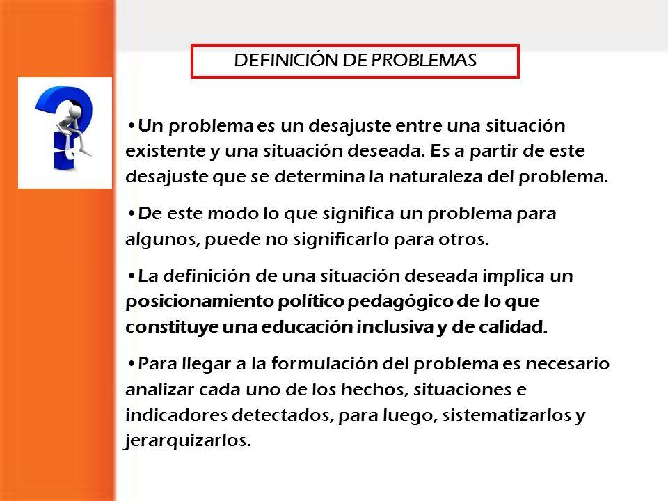DEFINICIÓN DE PROBLEMAS Un problema es un desajuste entre una situación existente y una situación deseada. Es a partir de este desajuste que se determ