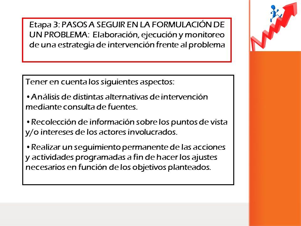Tener en cuenta los siguientes aspectos: Análisis de distintas alternativas de intervención mediante consulta de fuentes. Recolección de información s