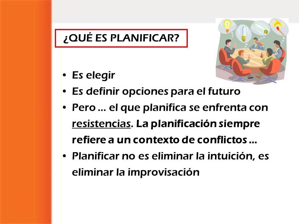 Es elegir Es definir opciones para el futuro Pero … el que planifica se enfrenta con resistencias. La planificación siempre refiere a un contexto de c
