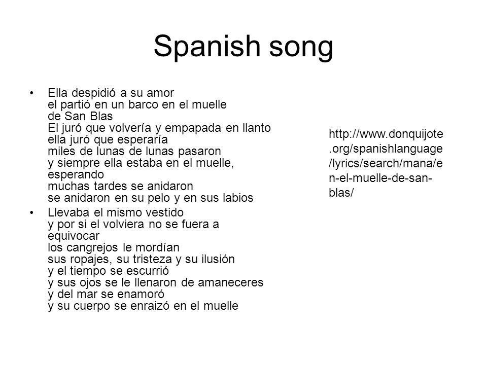 Spanish song Ella despidió a su amor el partió en un barco en el muelle de San Blas El juró que volvería y empapada en llanto ella juró que esperaría