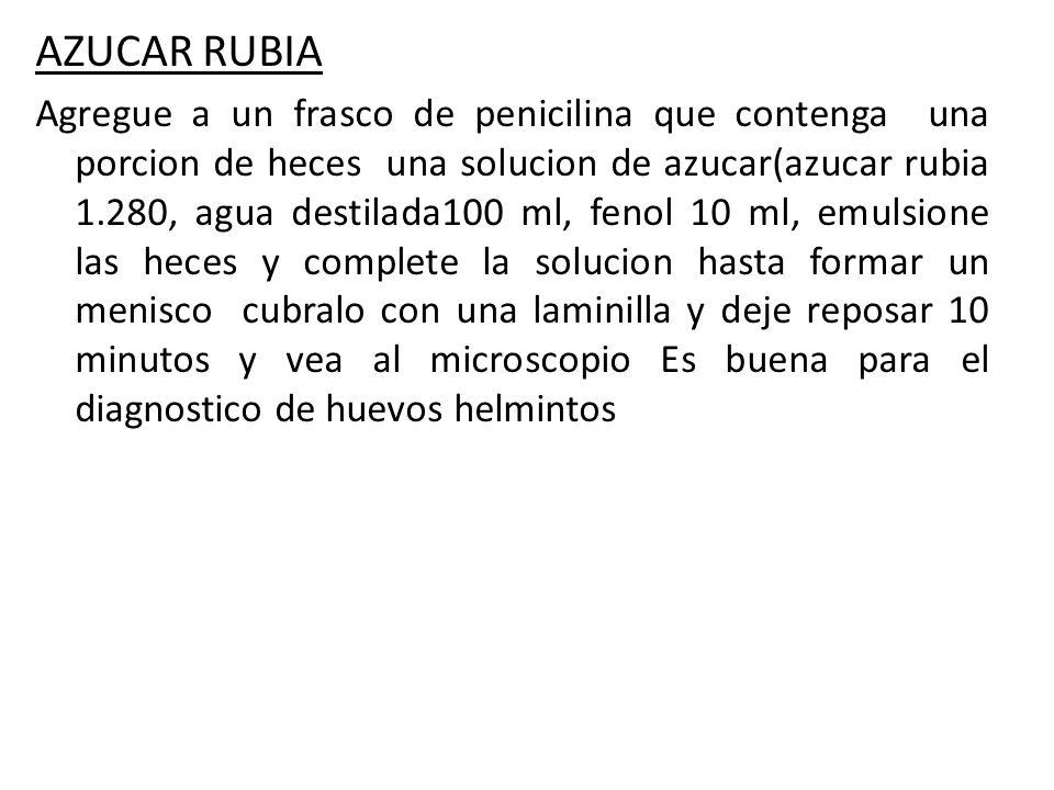 AZUCAR RUBIA Agregue a un frasco de penicilina que contenga una porcion de heces una solucion de azucar(azucar rubia 1.280, agua destilada100 ml, feno