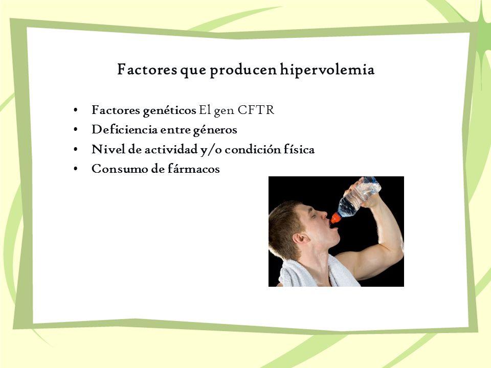 Factores que producen hipervolemia Factores genéticos El gen CFTR Deficiencia entre géneros Nivel de actividad y/o condición física Consumo de fármaco