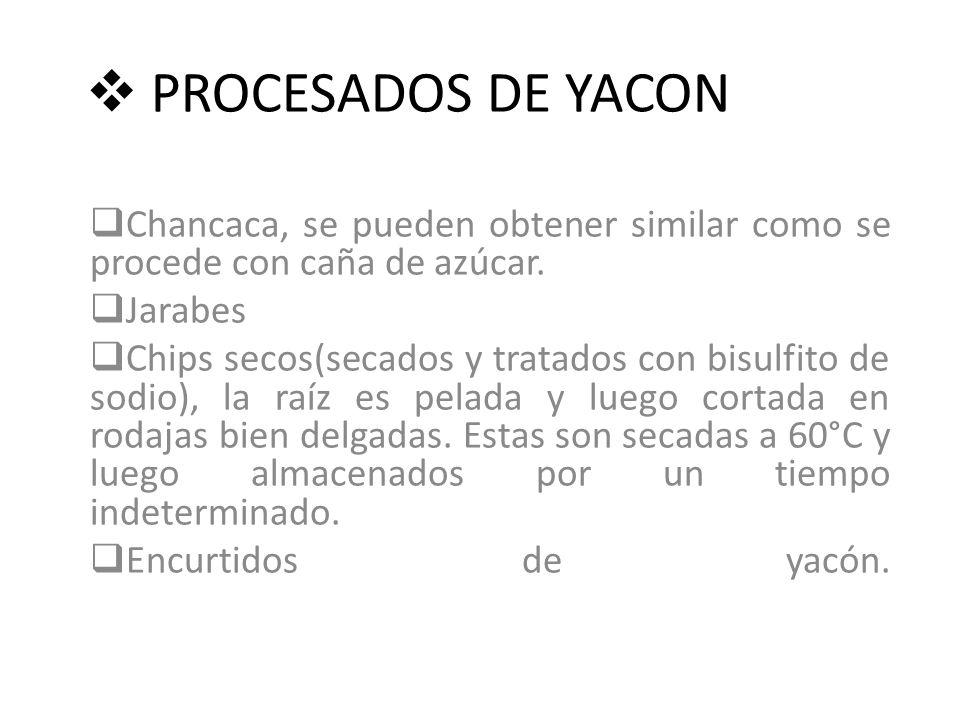 PROCESADOS DE YACON Chancaca, se pueden obtener similar como se procede con caña de azúcar. Jarabes Chips secos(secados y tratados con bisulfito de so