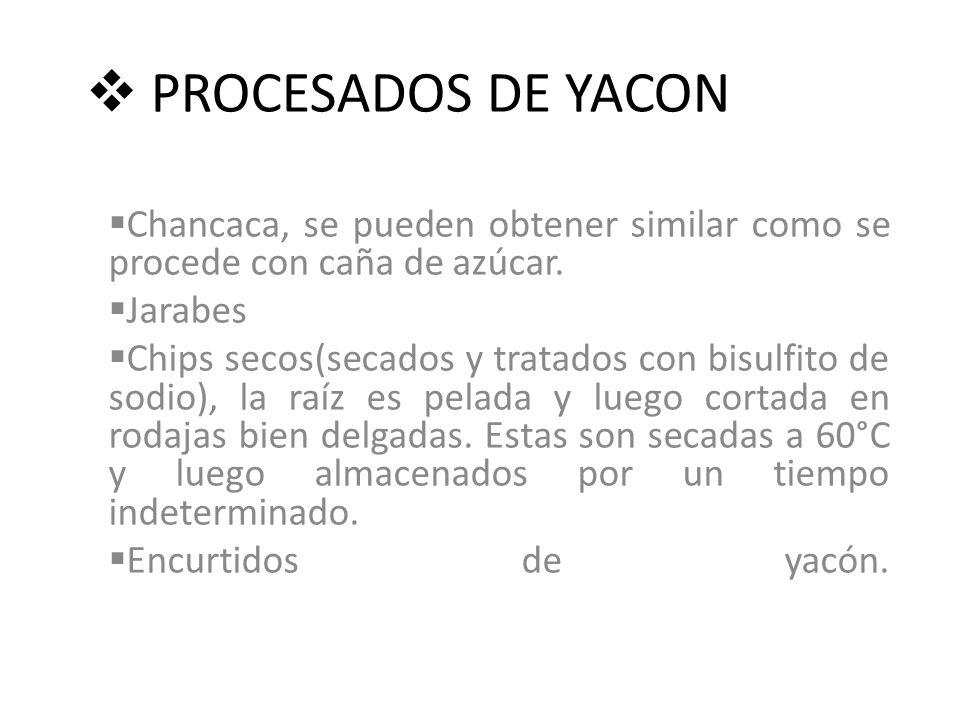 PROCESADOS DE YACON Chancaca, se pueden obtener similar como se procede con caña de azúcar.