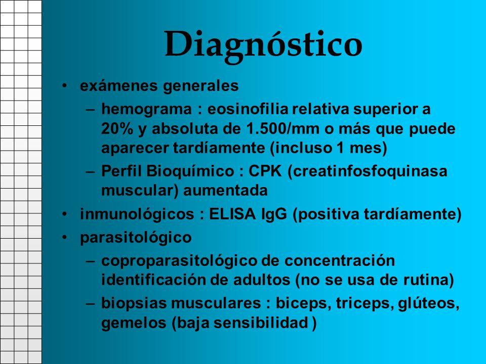 Diagnóstico exámenes generales –hemograma : eosinofilia relativa superior a 20% y absoluta de 1.500/mm o más que puede aparecer tardíamente (incluso 1