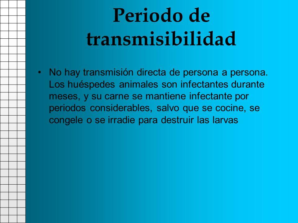 Periodo de transmisibilidad No hay transmisión directa de persona a persona. Los huéspedes animales son infectantes durante meses, y su carne se manti
