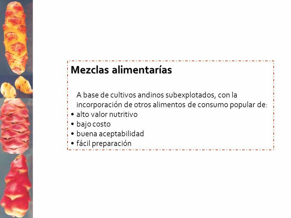 Mezclas alimentarías A base de cultivos andinos subexplotados, con la incorporación de otros alimentos de consumo popular de: alto valor nutritivo baj