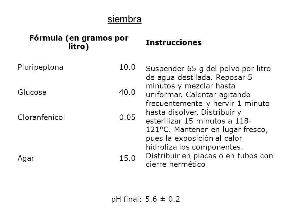 Fórmula (en gramos por litro) Instrucciones Pluripeptona10.0 Suspender 65 g del polvo por litro de agua destilada. Reposar 5 minutos y mezclar hasta u