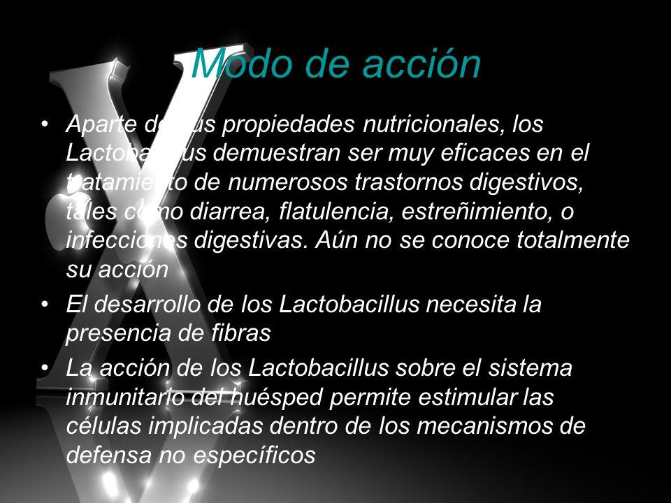 Modo de acción Aparte de sus propiedades nutricionales, los Lactobacillus demuestran ser muy eficaces en el tratamiento de numerosos trastornos digest