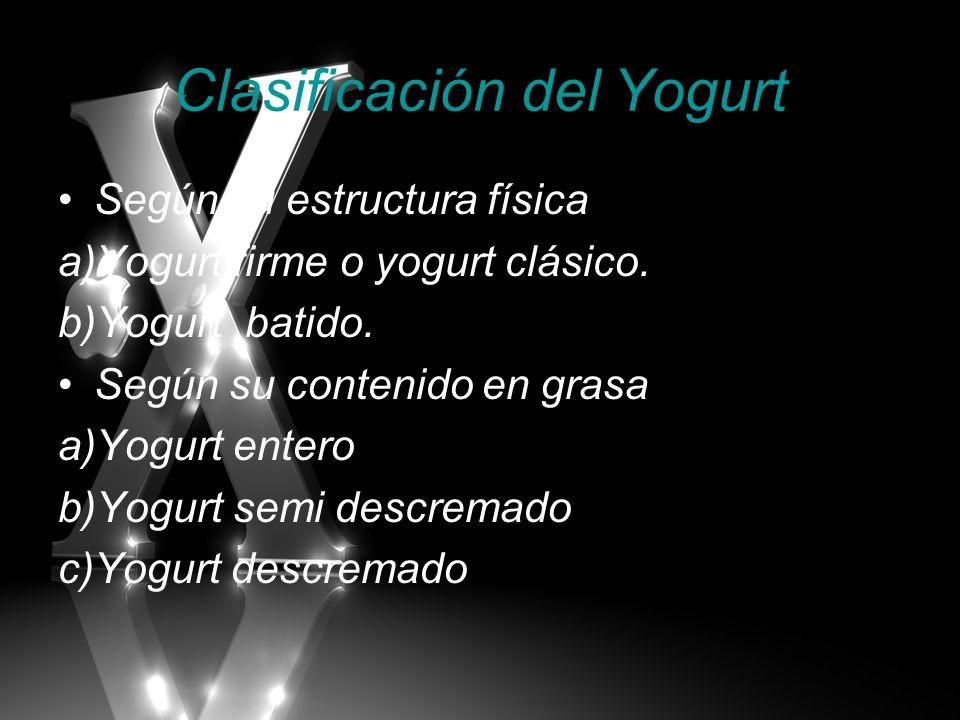 Clasificación del Yogurt Según su estructura física a)Yogurt firme o yogurt clásico. b)Yogurt batido. Según su contenido en grasa a)Yogurt entero b)Yo