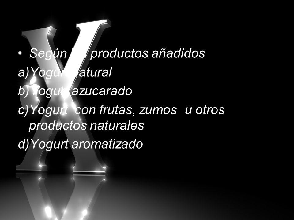 Según los productos añadidos a)Yogurt natural b)Yogurt azucarado c)Yogurt con frutas, zumos u otros productos naturales d)Yogurt aromatizado