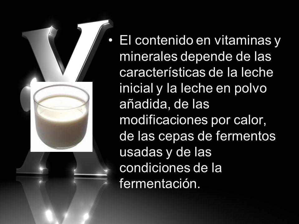 El contenido en vitaminas y minerales depende de las características de la leche inicial y la leche en polvo añadida, de las modificaciones por calor,