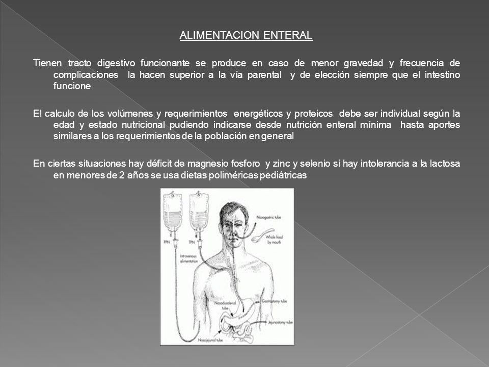 ALIMENTACION ENTERAL Tienen tracto digestivo funcionante se produce en caso de menor gravedad y frecuencia de complicaciones la hacen superior a la ví