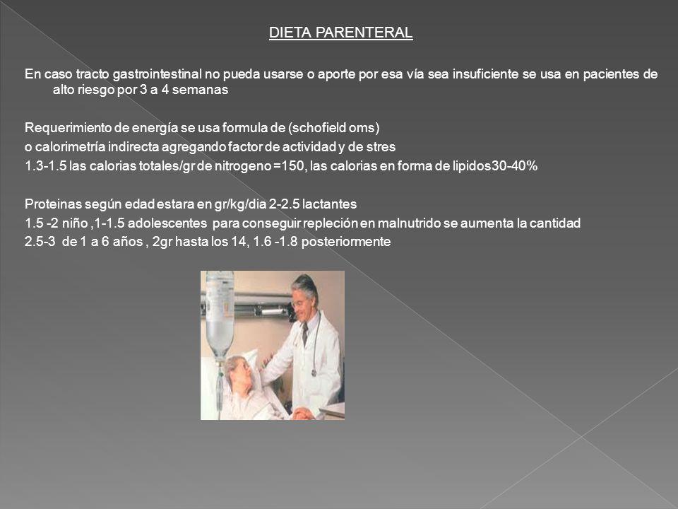 DIETA PARENTERAL En caso tracto gastrointestinal no pueda usarse o aporte por esa vía sea insuficiente se usa en pacientes de alto riesgo por 3 a 4 se