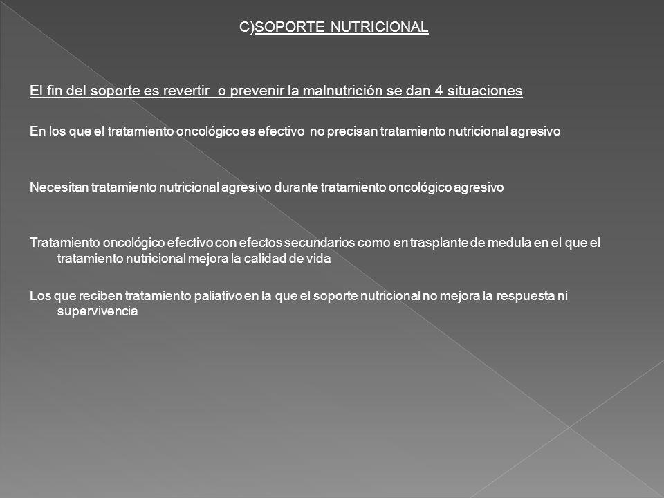 C)SOPORTE NUTRICIONAL El fin del soporte es revertir o prevenir la malnutrición se dan 4 situaciones En los que el tratamiento oncológico es efectivo