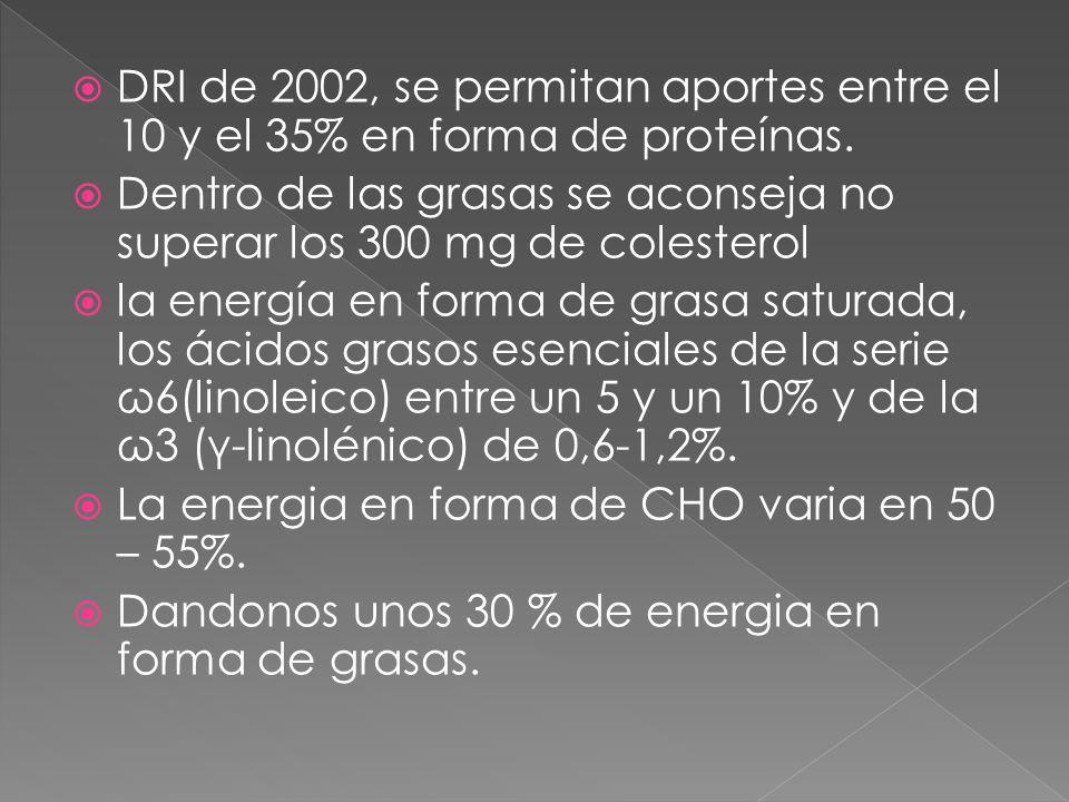 DRI de 2002, se permitan aportes entre el 10 y el 35% en forma de proteínas. Dentro de las grasas se aconseja no superar los 300 mg de colesterol la e