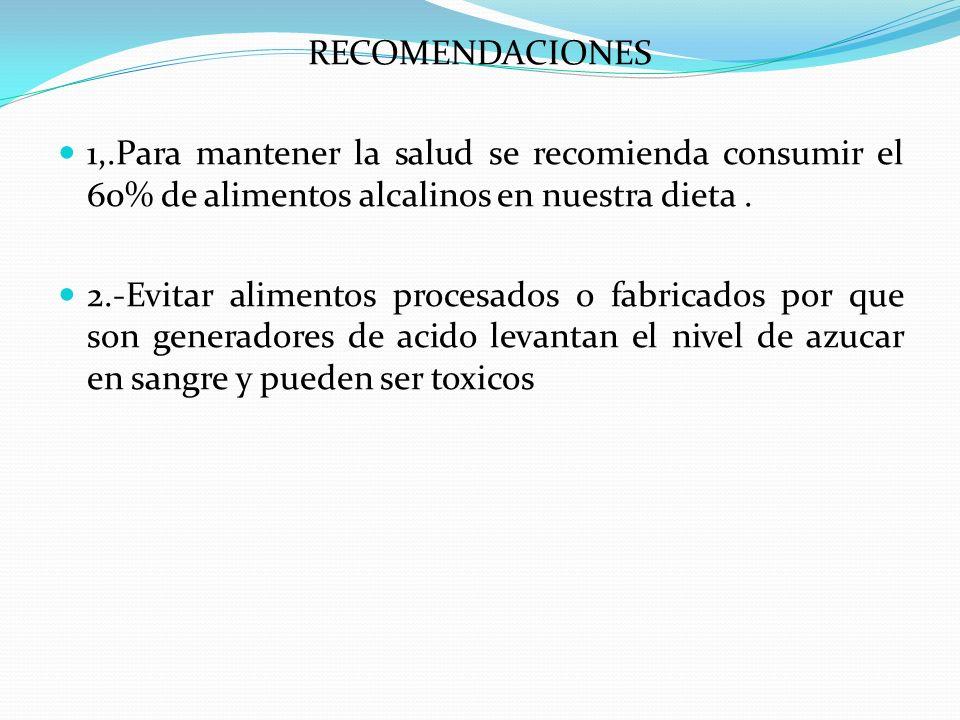 RECOMENDACIONES 1,.Para mantener la salud se recomienda consumir el 60% de alimentos alcalinos en nuestra dieta. 2.-Evitar alimentos procesados o fabr