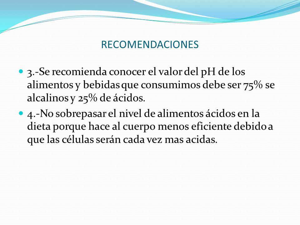 RECOMENDACIONES 3.-Se recomienda conocer el valor del pH de los alimentos y bebidas que consumimos debe ser 75% se alcalinos y 25% de ácidos. 4.-No so
