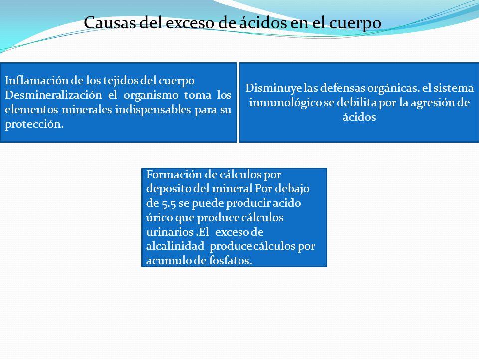 Causas del exceso de ácidos en el cuerpo Inflamación de los tejidos del cuerpo Desmineralización el organismo toma los elementos minerales indispensab
