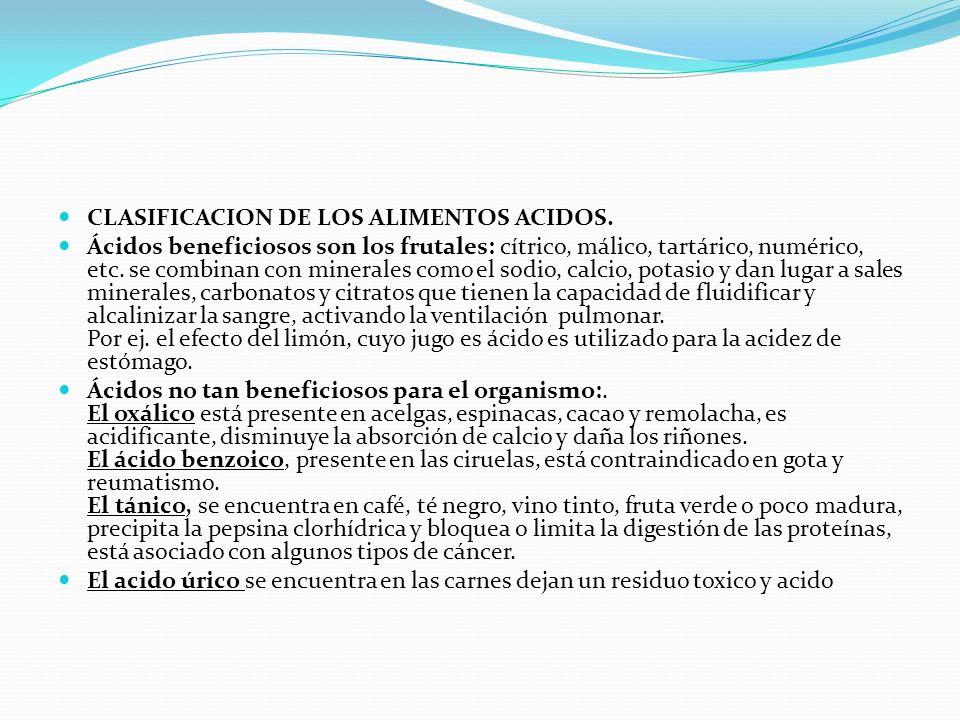 CLASIFICACION DE LOS ALIMENTOS ACIDOS. Ácidos beneficiosos son los frutales: cítrico, málico, tartárico, numérico, etc. se combinan con minerales como