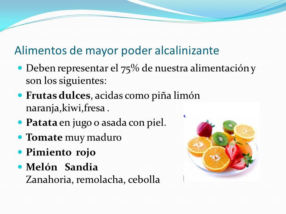 Alimentos de mayor poder alcalinizante Deben representar el 75% de nuestra alimentación y son los siguientes: Frutas dulces, acidas como piña limón na