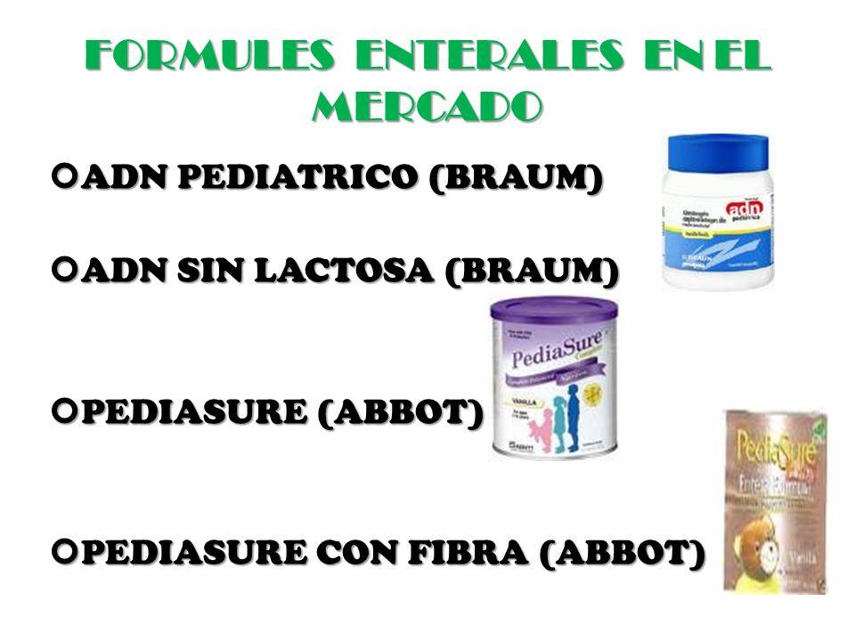 FORMULES ENTERALES EN EL MERCADO ADN PEDIATRICO (BRAUM) ADN PEDIATRICO (BRAUM) ADN SIN LACTOSA (BRAUM) ADN SIN LACTOSA (BRAUM) PEDIASURE (ABBOT) PEDIASURE (ABBOT) PEDIASURE CON FIBRA (ABBOT) PEDIASURE CON FIBRA (ABBOT)