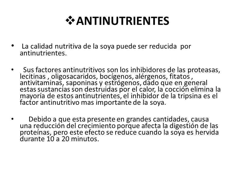 ANTINUTRIENTES La calidad nutritiva de la soya puede ser reducida por antinutrientes.