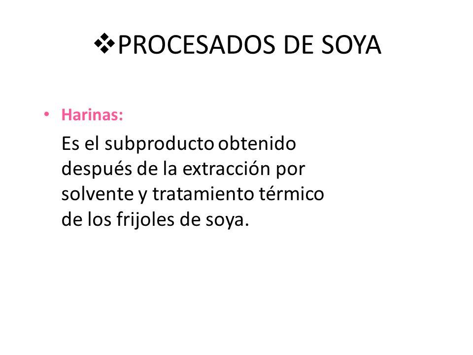 PROCESADOS DE SOYA Harinas: Es el subproducto obtenido después de la extracción por solvente y tratamiento térmico de los frijoles de soya.