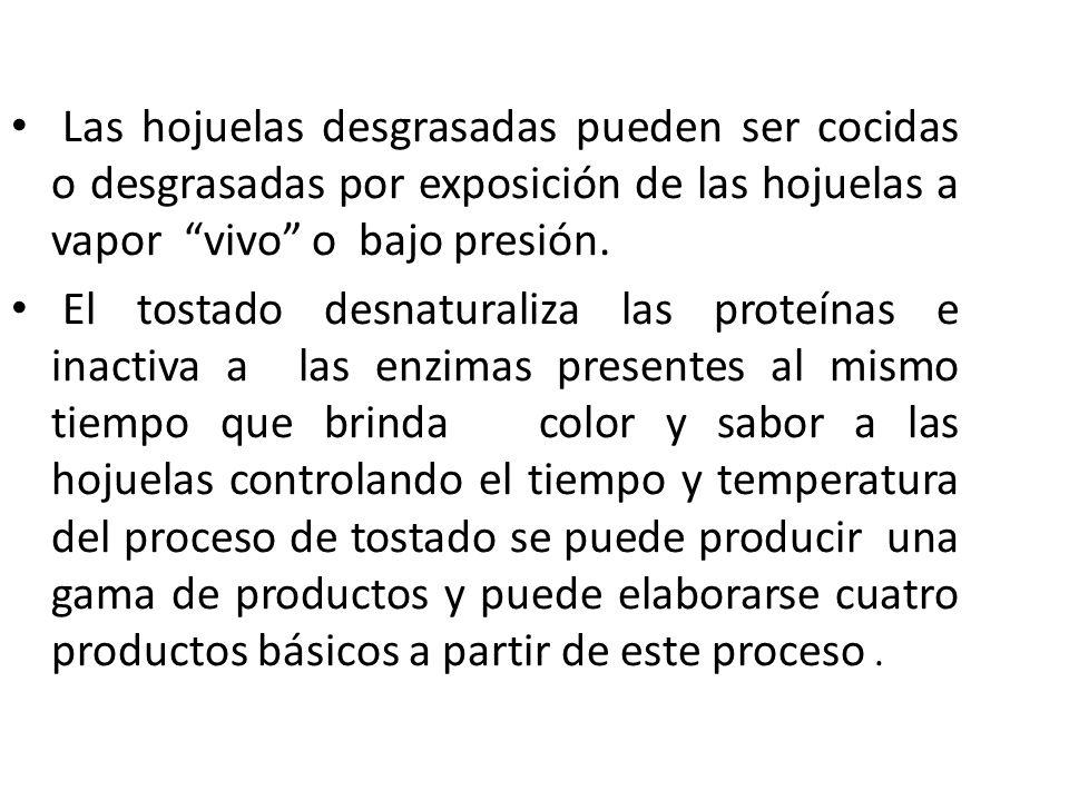 Las hojuelas desgrasadas pueden ser cocidas o desgrasadas por exposición de las hojuelas a vapor vivo o bajo presión.