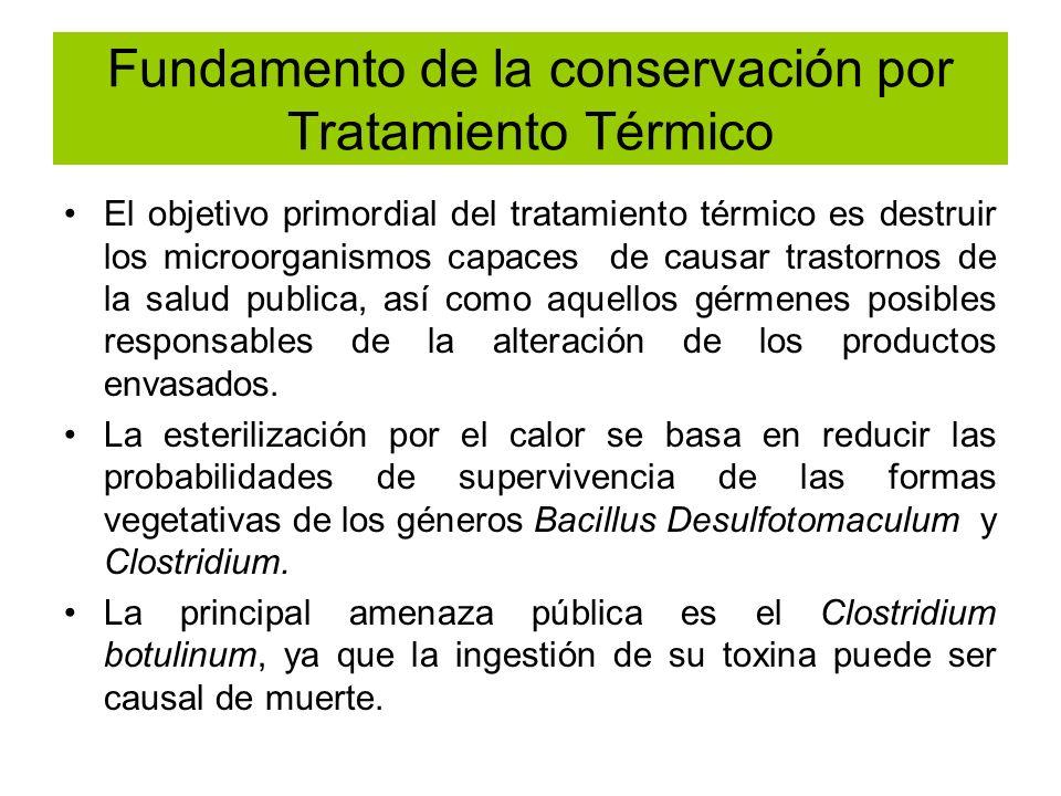 Fundamento de la conservación por Tratamiento Térmico El objetivo primordial del tratamiento térmico es destruir los microorganismos capaces de causar