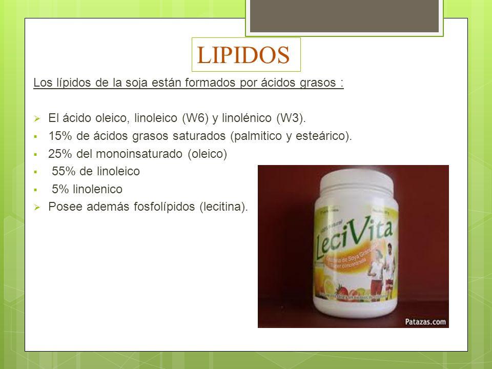 LIPIDOS Los lípidos de la soja están formados por ácidos grasos : El ácido oleico, linoleico (W6) y linolénico (W3). 15% de ácidos grasos saturados (p