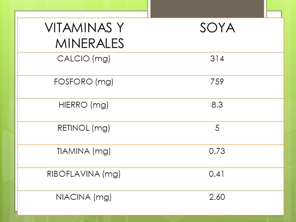 VITAMINAS Y MINERALES SOYA CALCIO (mg)314 FOSFORO (mg)759 HIERRO (mg)8.3 RETINOL (mg)5 TIAMINA (mg)0.73 RIBOFLAVINA (mg)0.41 NIACINA (mg)2.60