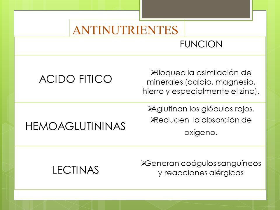 ANTINUTRIENTES FUNCION ACIDO FITICO Bloquea la asimilación de minerales (calcio, magnesio, hierro y especialmente el zinc). HEMOAGLUTININAS Aglutinan