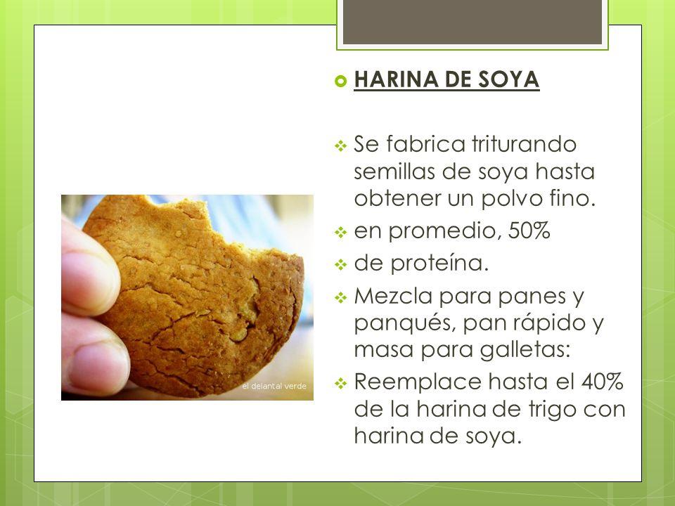 HARINA DE SOYA Se fabrica triturando semillas de soya hasta obtener un polvo fino. en promedio, 50% de proteína. Mezcla para panes y panqués, pan rápi