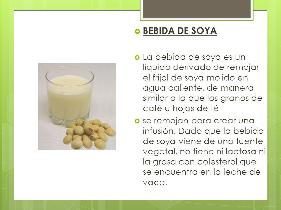 BEBIDA DE SOYA La bebida de soya es un líquido derivado de remojar el frijol de soya molido en agua caliente, de manera similar a la que los granos de