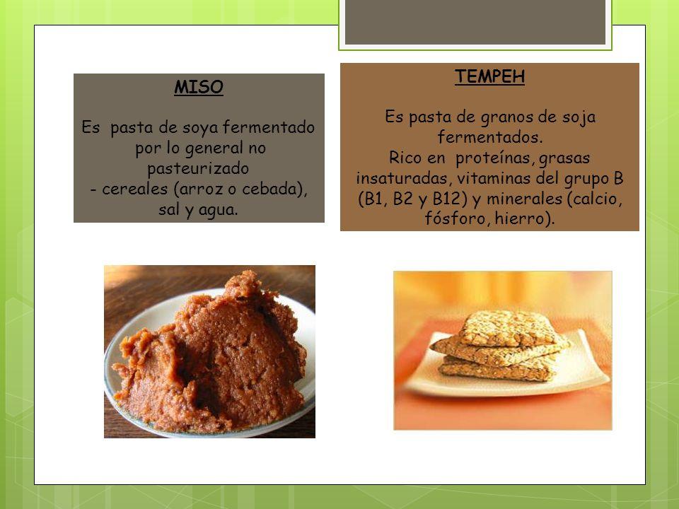 TEMPEH Es pasta de granos de soja fermentados. Rico en proteínas, grasas insaturadas, vitaminas del grupo B (B1, B2 y B12) y minerales (calcio, fósfor