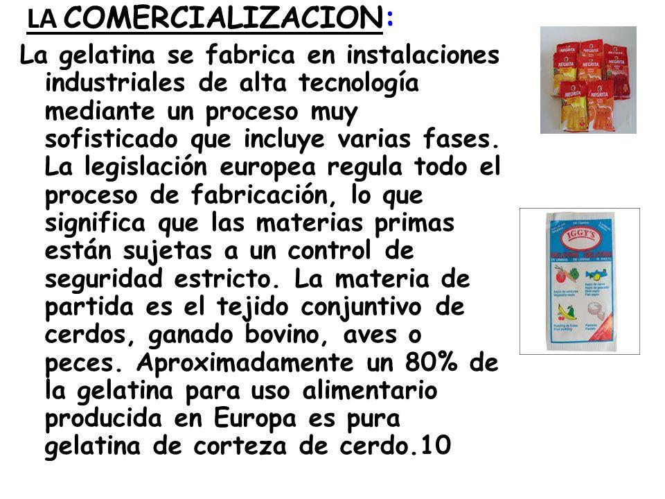 LA COMERCIALIZACION: La gelatina se fabrica en instalaciones industriales de alta tecnología mediante un proceso muy sofisticado que incluye varias fa