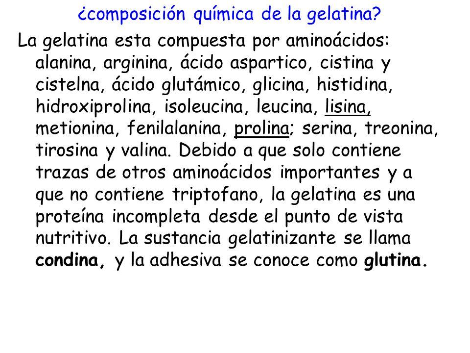 ¿composición química de la gelatina? La gelatina esta compuesta por aminoácidos: alanina, arginina, ácido aspartico, cistina y cistelna, ácido glutámi