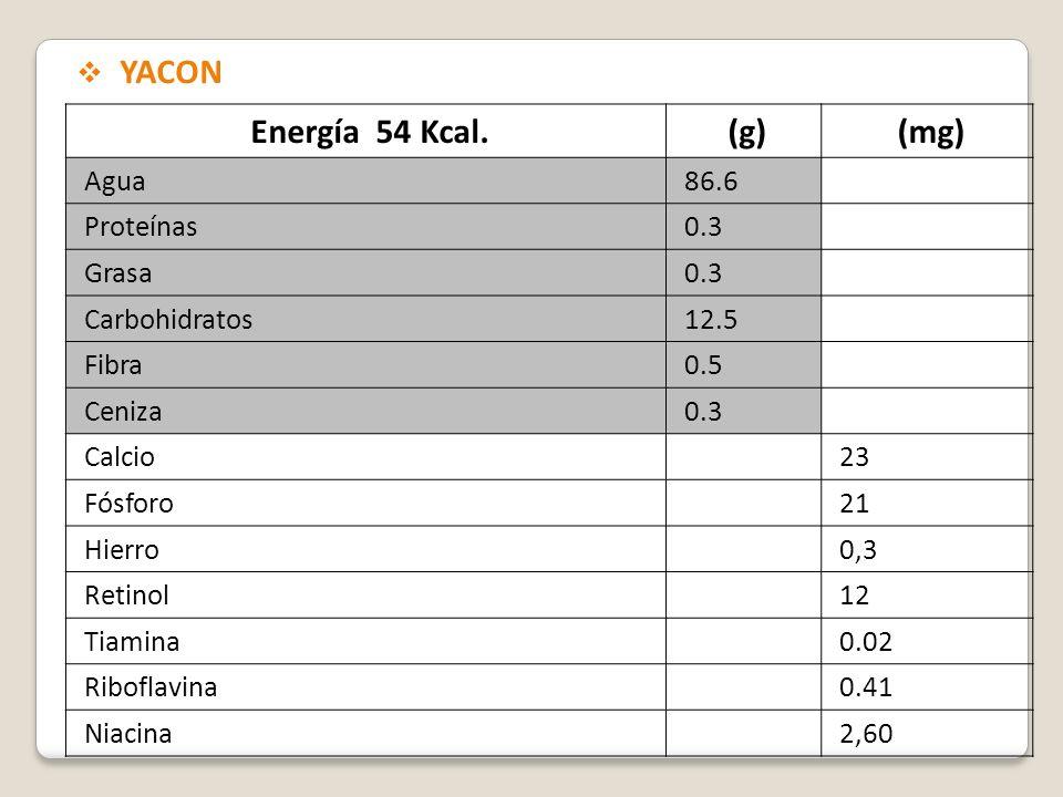 Energía 54 Kcal.(g)(mg) Agua86.6 Proteínas0.3 Grasa0.3 Carbohidratos12.5 Fibra0.5 Ceniza0.3 Calcio23 Fósforo21 Hierro0,3 Retinol12 Tiamina0.02 Ribofla