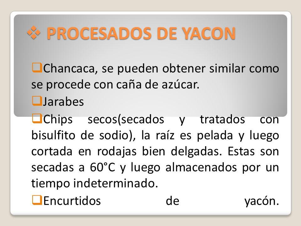 PROCESADOS DE YACON PROCESADOS DE YACON Chancaca, se pueden obtener similar como se procede con caña de azúcar. Jarabes Chips secos(secados y tratados